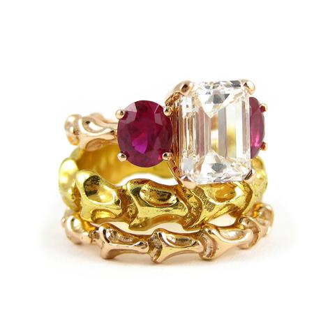 Colored diamond designer engagement rings